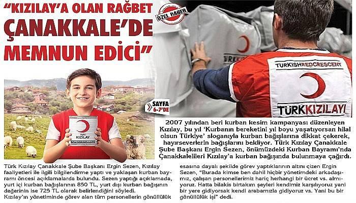 """""""Kızılay'a olan rağbet Çanakkale'de memnun edici"""""""