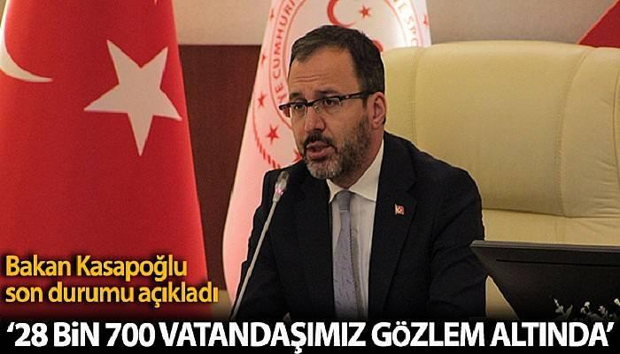 Bakan Kasapoğlu: '76 ildeki yurtlarda 28 bin 700 vatandaşımız gözlem altında'