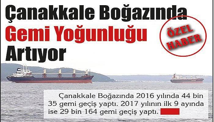 Çanakkale Boğazında gemi yoğunluğu artıyor