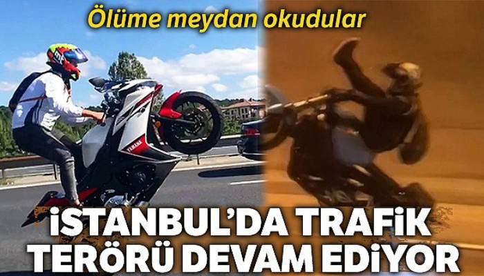 Dolmabahçe Tüneli'nde motosikletli maganda deponun üstüne oturup tek tekerlek üzerinde gitti