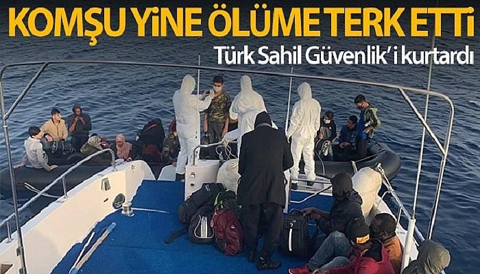 Yunan Sahil Güvenlik'i tarafından ölüme terk edilen düzensiz göçmenleri Türk Sahil Güvenlik'i kurtardı