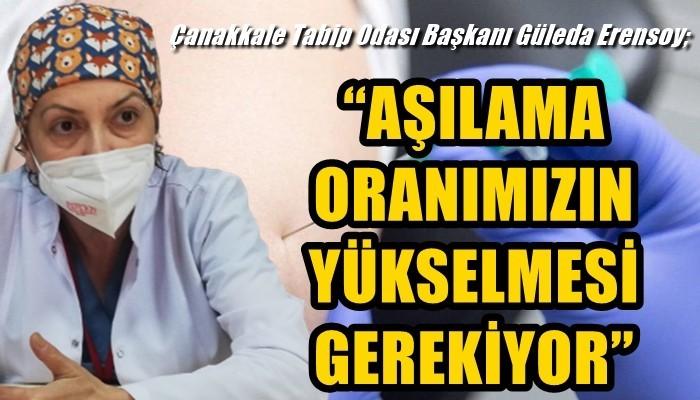 Çanakkale Tabip Odası Başkanı Güleda Erensoy; 'AŞILAMA ORANIMIZIN YÜKSELMESİ GEREKİYOR'