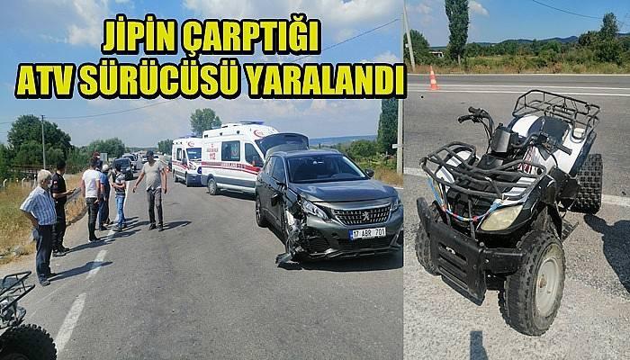 Jipin çarptığı ATV sürücüsü yaralandı (VİDEO)