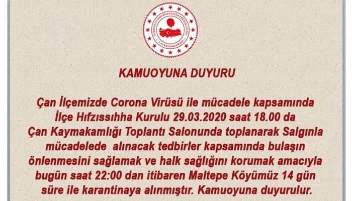 Çan'ın Maltepe Köyü karantinaya alındı!