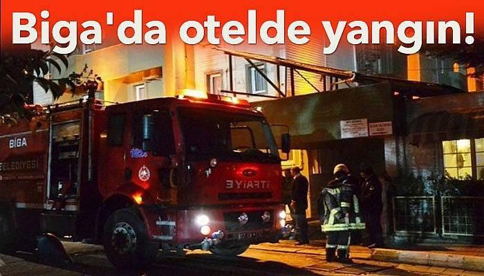 Biga'da otelde yangın!