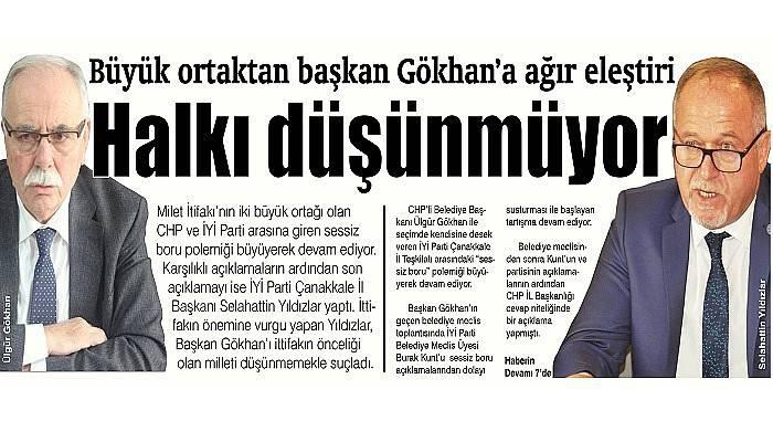 Büyük ortaktan başkan Gökhan'a ağır eleştiri Halkı düşünmüyor