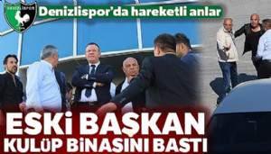 Denizlispor'un eski Başkanı Süleyman Urkay belinde silahla kulüp binasını bastı