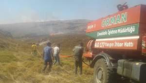 Gökçeada'da çöplük yangını ormana sıçramadan söndürüldü (VİDEO)