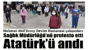 Mehmet Akif Ersoy Devlet Hastanesi çalışanları Sağlık Müdürlüğü'nü protesto etti