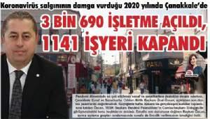 2020 YILINDA 3 BİN 690 İŞLETME AÇILDI, 1141 İŞYERİ KAPANDI