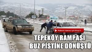 Tepeköy rampası buz pistine dönüştü (VİDEO)
