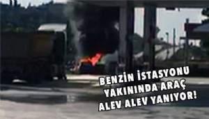 Çanakkale'de korkutan araç yangını! (VİDEO)